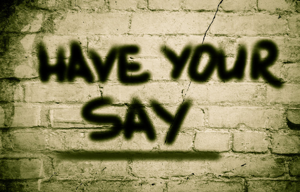 'Have your say' sprayed on a wall